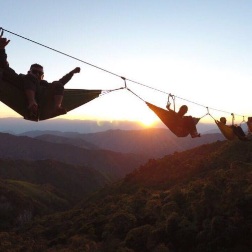 sunset in a hanging hammock