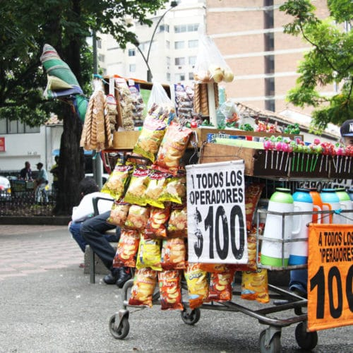 Medellin CIty Tour Parque Bolivar Street shop cart